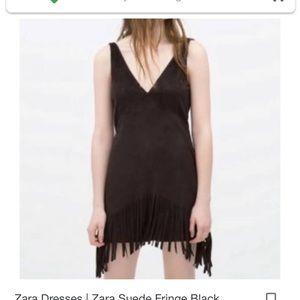 Zara trafaluc xs fringe black dress minidress